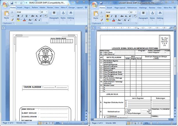 Buku Legger Siswa SD MI SMP MTs SMA MA SMK Format Microsoft Word