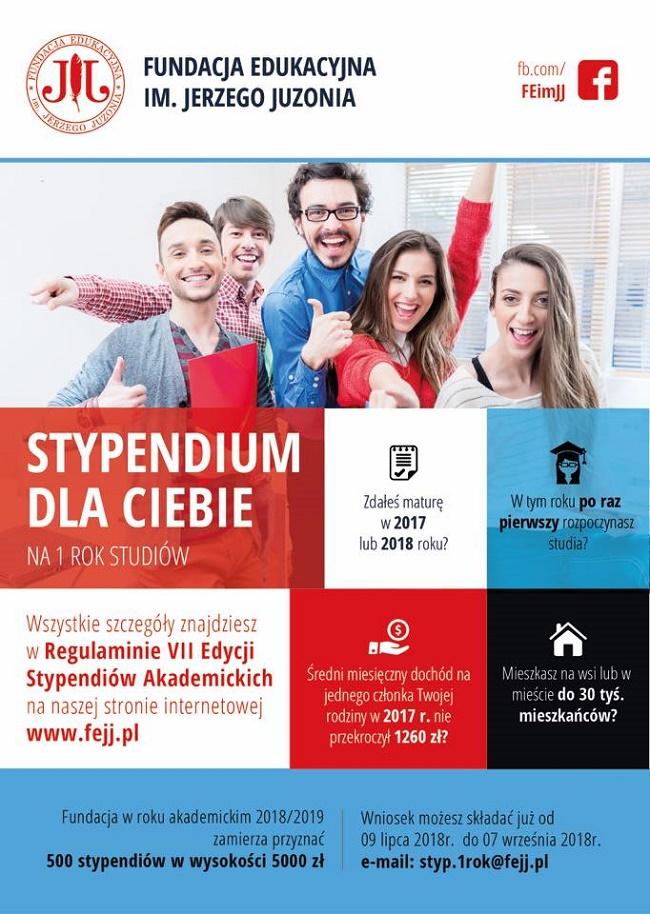 Stypendia dla studentów Fundacji Edukacyjnej im. Jerzego Juzonia 2018/2019 - plakat reklamujący