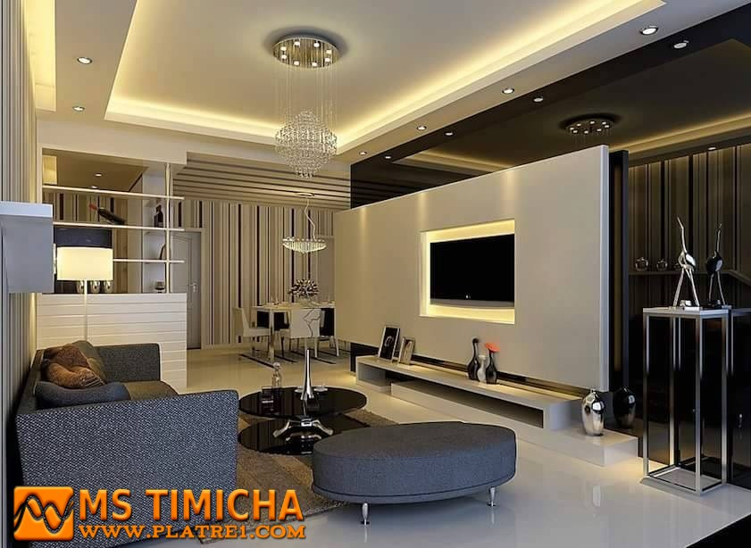 Faux plafond platre 2017 design salon moderne ms timicha for Staff decor plafond salon