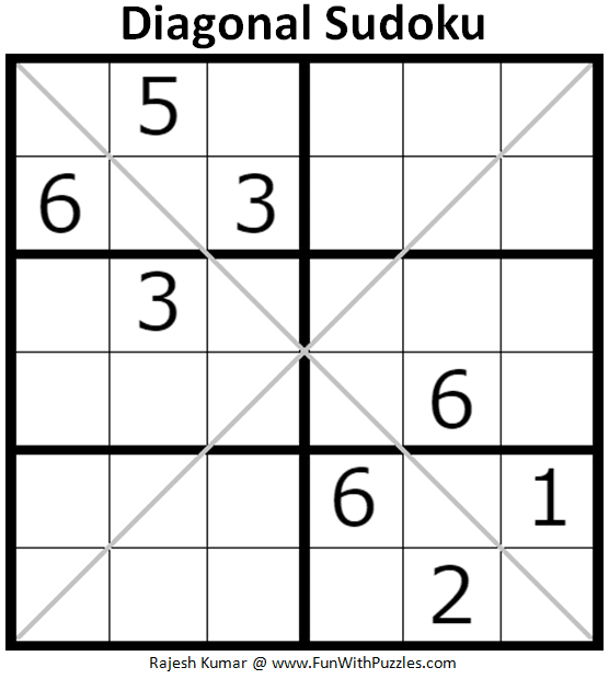 picture regarding 6x6 Sudoku Printable named 6x6 Diagonal Sudoku Puzzles (Mini Sudoku Collection #115, #116