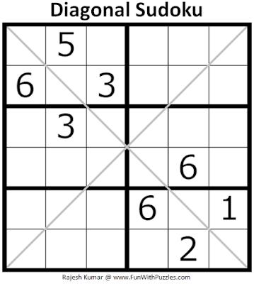 6x6 Diagonal Sudoku Puzzle (Mini Sudoku Series #115)
