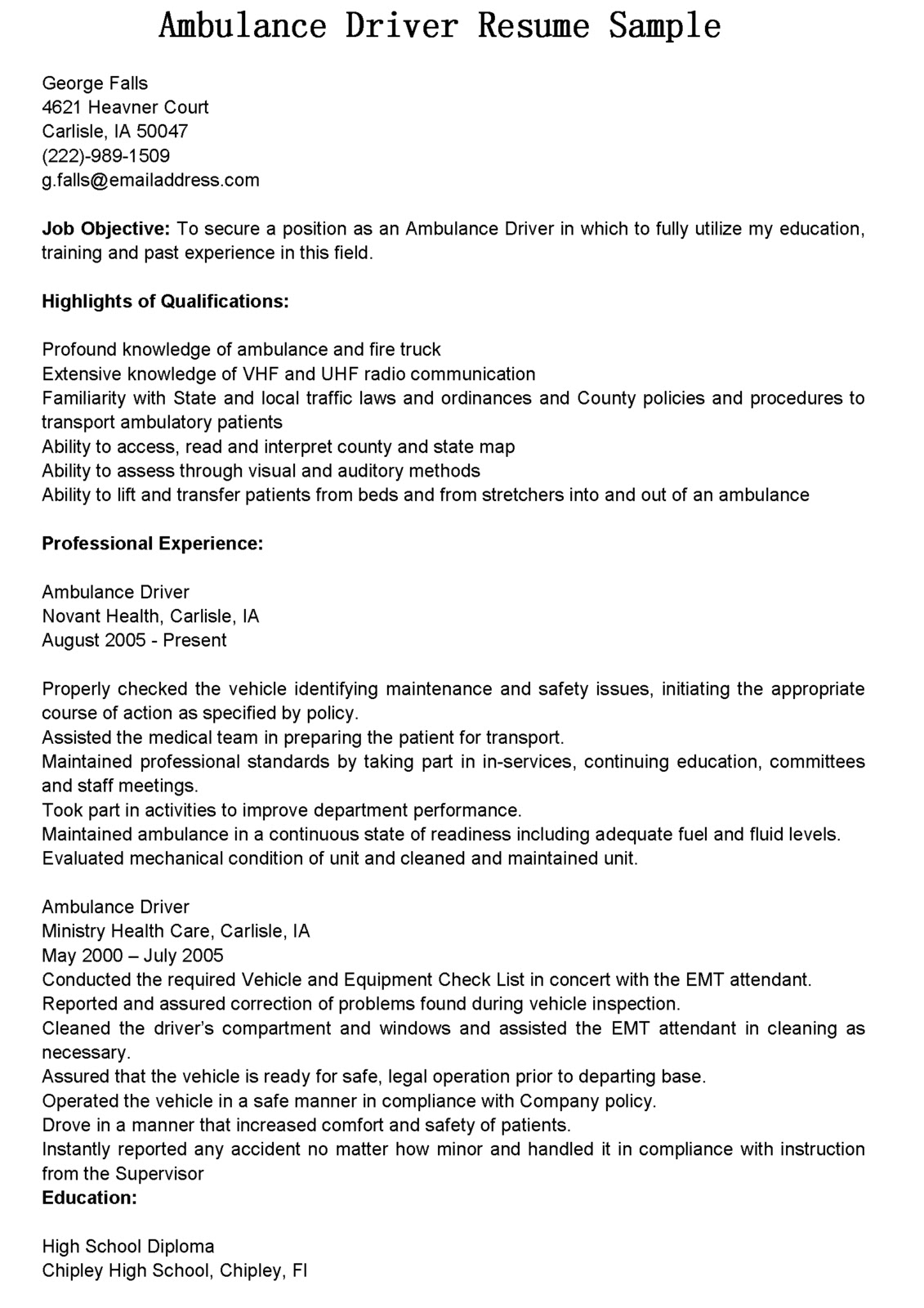 Cdl Driver Resume Sample Driver Resumes Ambulance Driver Resume Sample