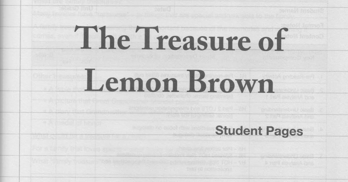 Literature 4 Points 08 Treasure Of Lemon Brown The 177 200