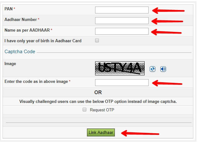 how to link aadhaar card to pancard