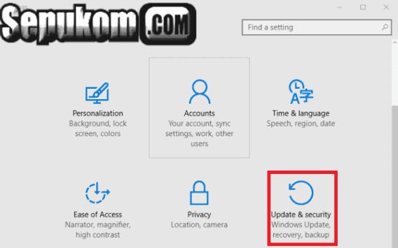 Klik Update And Security