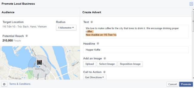 Hình thức quảng cáo Facebook Local awareness
