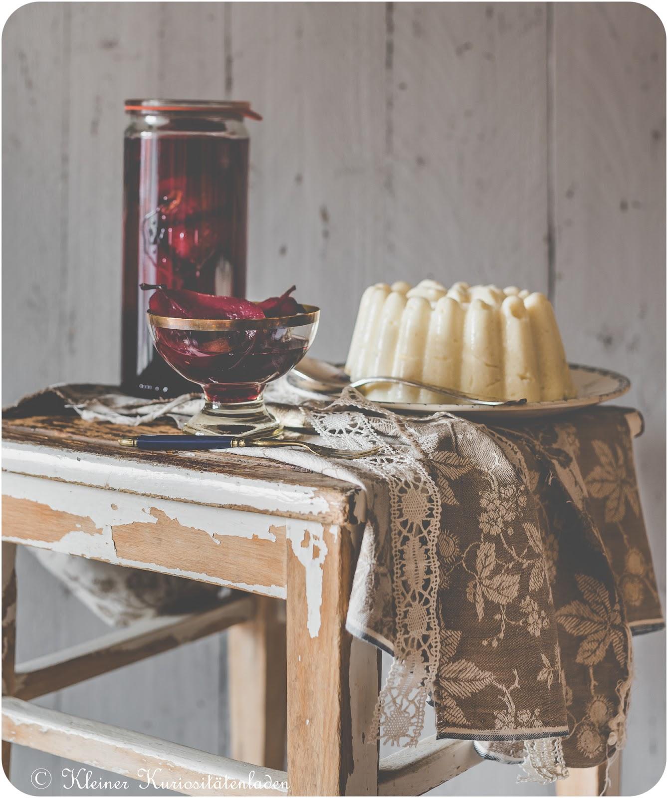 Portweinbirnen mit Grießpudding