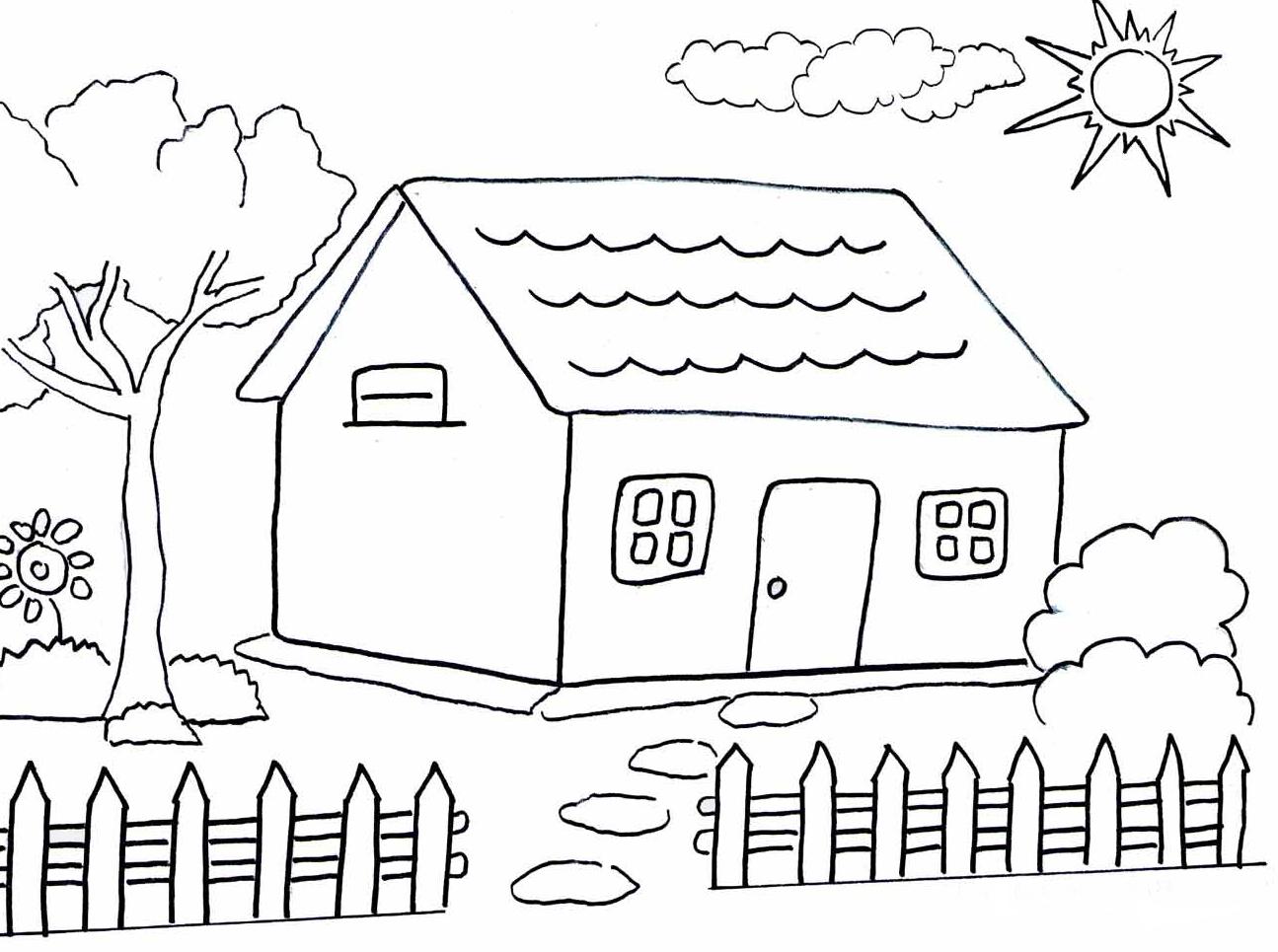 Gambar Mewarnai Hitam Putih Rumah Adat Jawa Anak Sd Tk Paud Terbaru