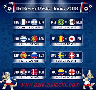 Jadwal Babak 16 Besar Piala Dunia 2018 Rusia