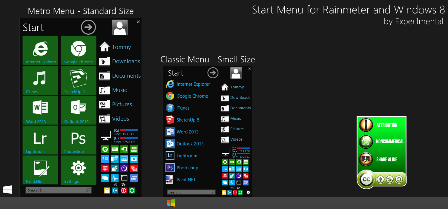Metro Start Menu for Rainmeter - Tips and Tricks