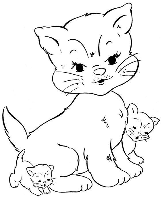 Tranh tô màu mèo mẹ và mèo con
