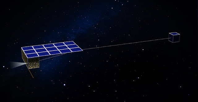 Artist's concept of of a nanosatellite in the Asteroid Touring Nanosat Fleet. Image credit: Finnish Meteorological Institute.
