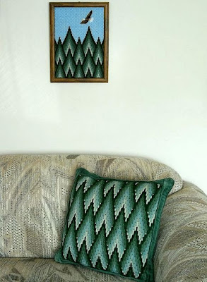 Bargello pillow and picture using the same stitch