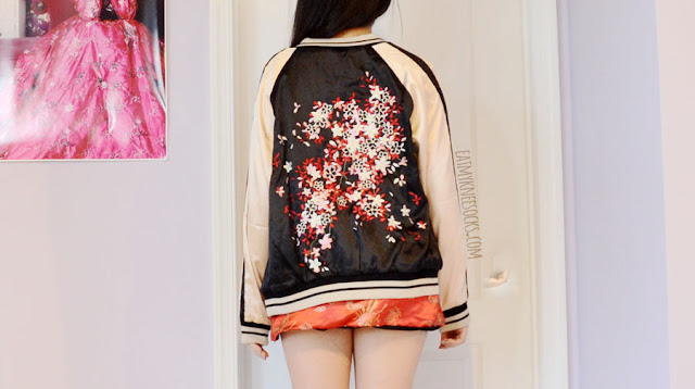 An oriental outfit featuring the reversible cherry blossom embroidered satin bomber jacket from SheIn, paired with the Gong Li bralet and skirt set from O-Mighty/Omighty/Omweekend.