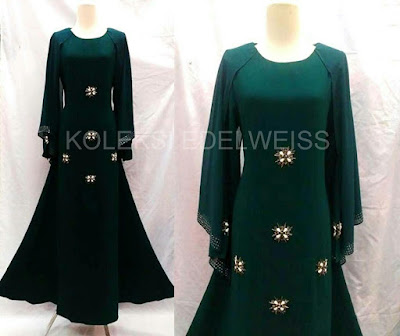 Afifah -Dress With Long Sleeve  Cape  Emerald Green