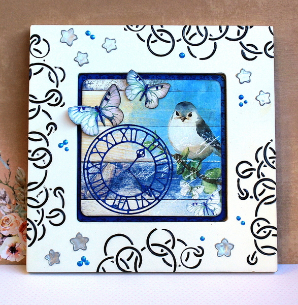 Stencil Paste Frame Mixed Media by Ulrika Wandler using BoBunny Serendipity Collection