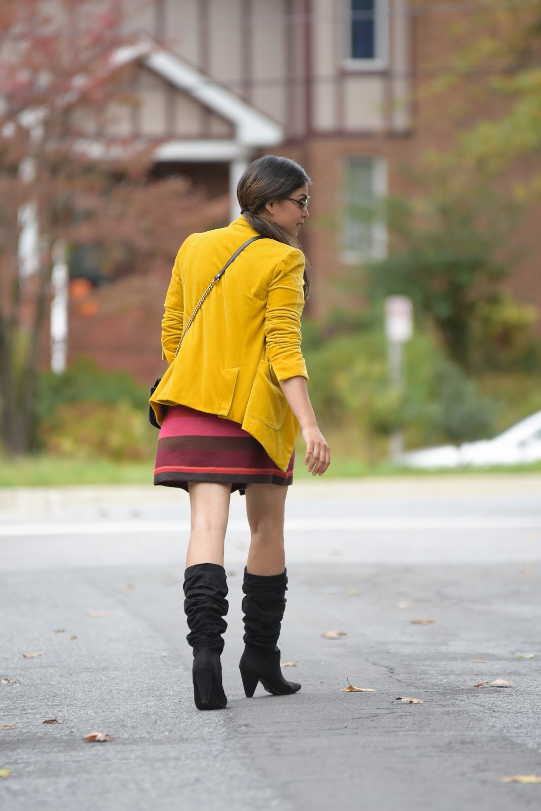 how to wera a velvet blazer, loft stripe wrap over skirt, slouchy black boots, fall style, fall colors, fashion, street style, ootd, bright holiday outfit, happy halloween , myriad musings