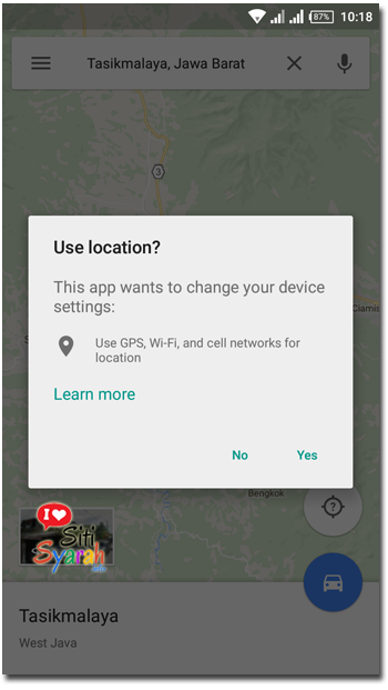 HP Android Muncul Location Service