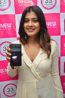 Hebah Patel launches a new mobile phone Stunning White dress