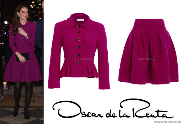 Kate Middleton wore Oscar De La Renta Three Quarter Sleeve Pleated Jacket and Full Pleated Skirt