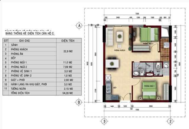 Mặt bằng căn hộ Felix Home - Căn hộ  C