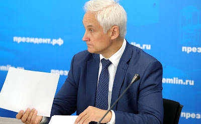 Presidential Aide Andrei Belousov prior to the meeting of the bureau of the Russian Engineering Union and the League for Assisting Defense Enterprises of Russia.