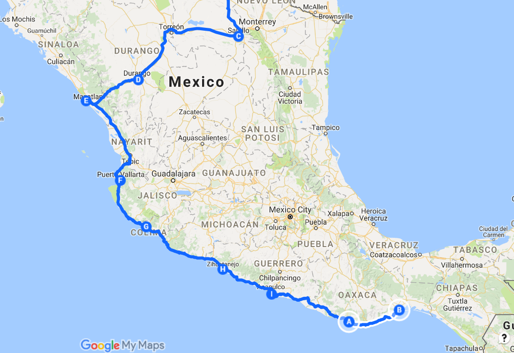 Salinas Mexico Map.Pattyn Overland Travels Through Mexico And Central America Acapulco
