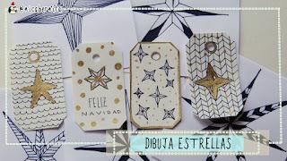 Cómo dibujar estrellas y etiquetas para regalo (Nica Bernita)