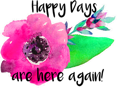 happy days watercolour flower blog graphic