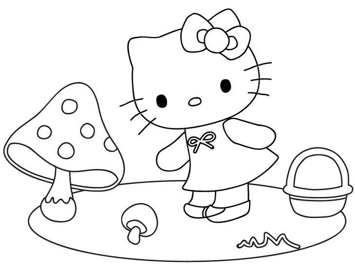 Tranh tô màu mèo hello kitty và cây nấm nhỏ