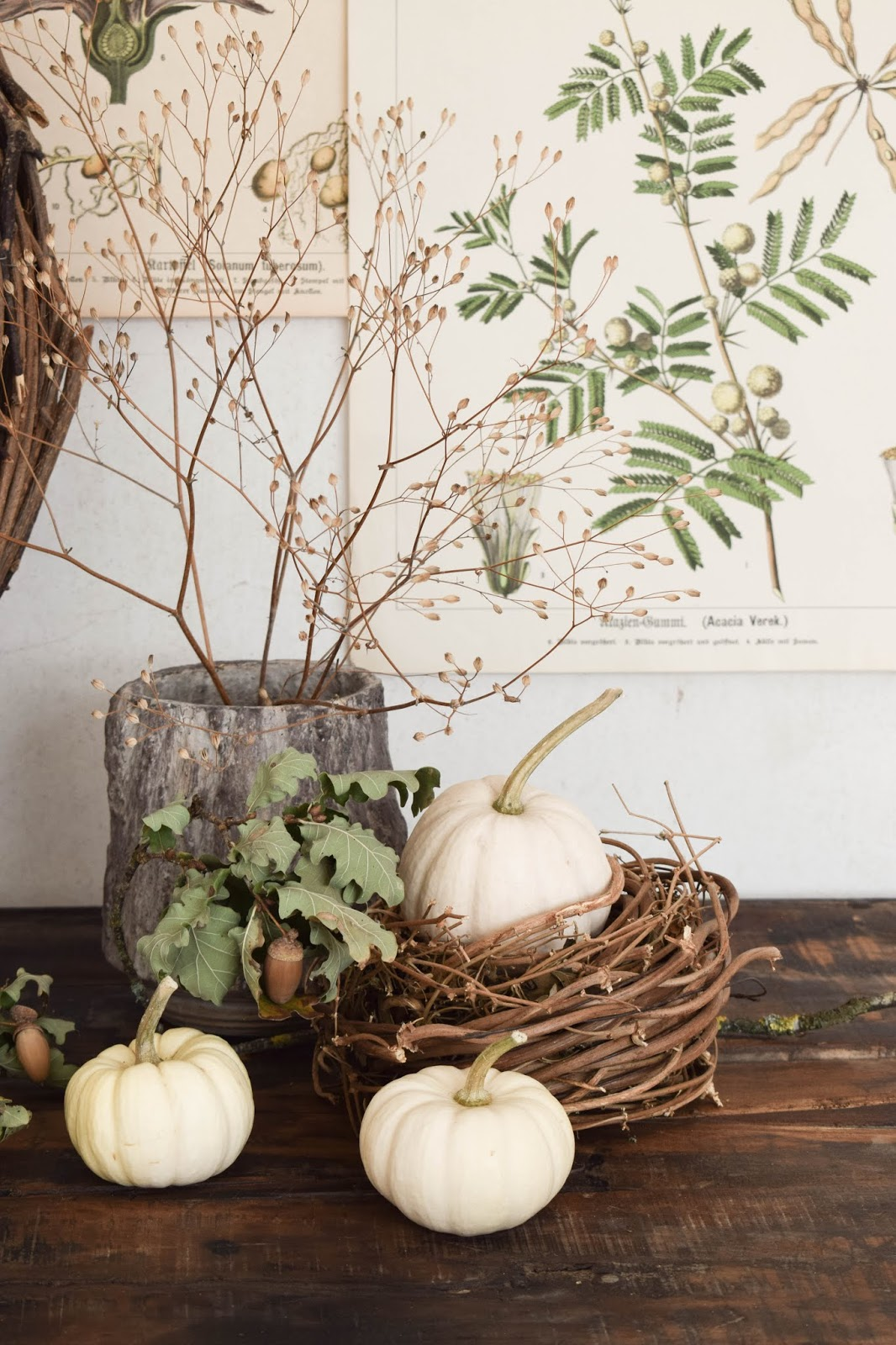 Herbstdeko für Konsole. Deko für den Herbst mit Kübrissen, Kränzen, Holz und botanischen Drucken. Dekoidee. Herbstlich dekorieren Wohnidee Sideboard Kürbis Nest