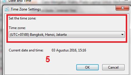 gambar pengaturan time Zone di komputer
