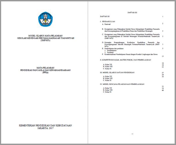 Silabus RPP PPKn SMP MTs Kurikulum 2013 Kelas VII, VIII, IX