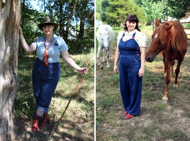 1940s plus size jeans and overalls for homefront war time women