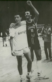 Meneghin father and son: on court in  1990 with son Andrea (left)
