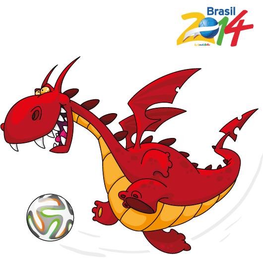 Dragón futbolista, Brasil 2014 - Vector