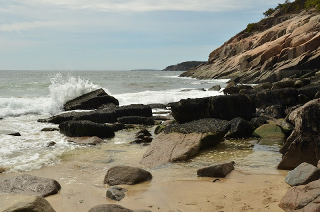Waves Hitting Rocks At Acadia National Park