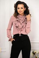 Camasa dama rose cu volanase cu margini negre
