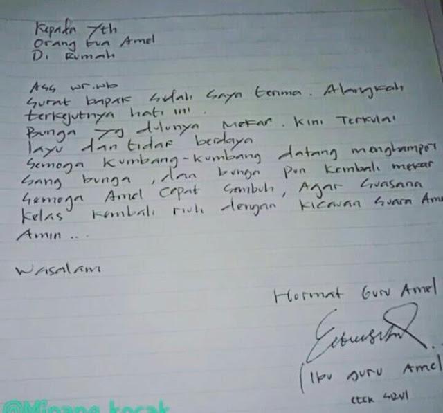 Ibu Guru Amel Akhirnya Balas Surat dari Ayah Amel, Coba Tebak Gimana Isinya?