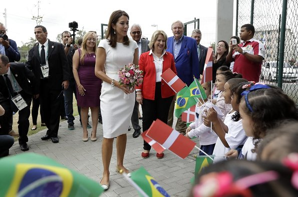 Crown Princess Mary at 2016 Summer Olympics in Rio de Janeiro, Brazil. Princess Mary wore Willow Jacquard Dress