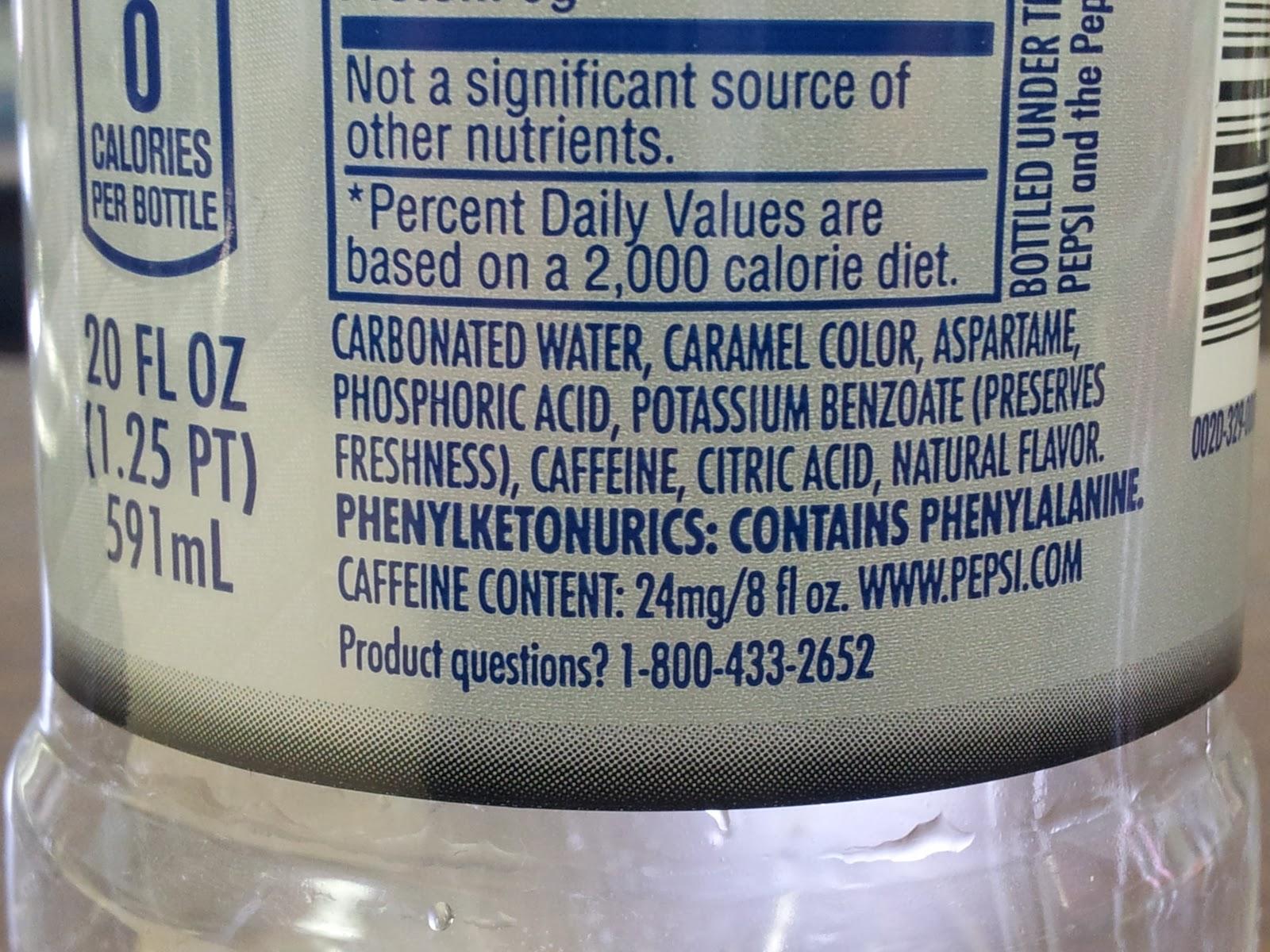 Diet Pepsi Ingre Nts Label