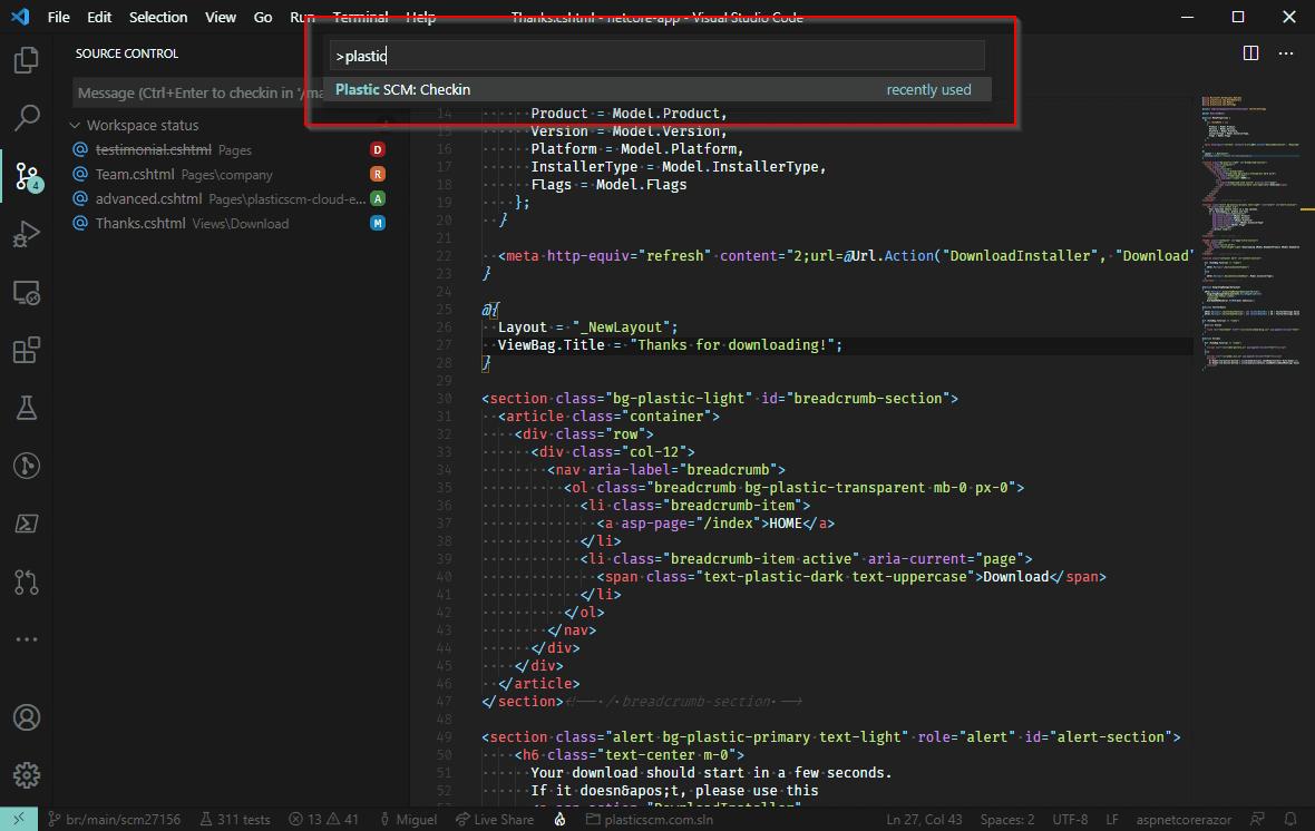 Command palette: checkin