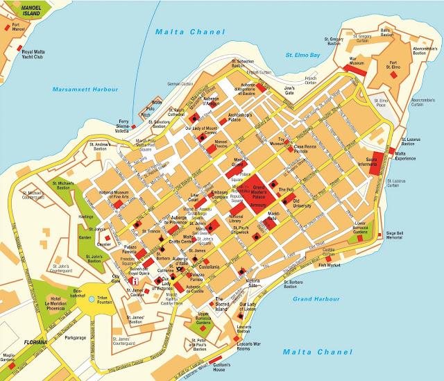 Mapa de la Valletta, Malta