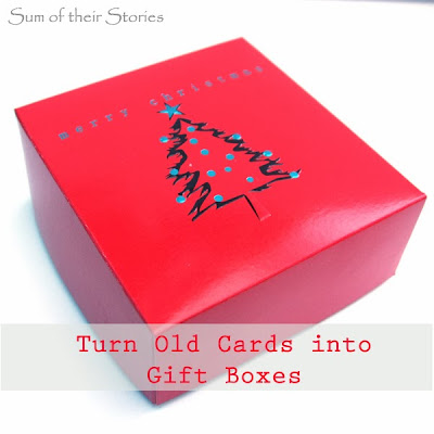turn old Christmas Cards into mini gift boxes