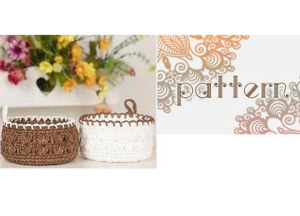 patron crochet cestos, cestos con plástico y alambre, tejer cestos