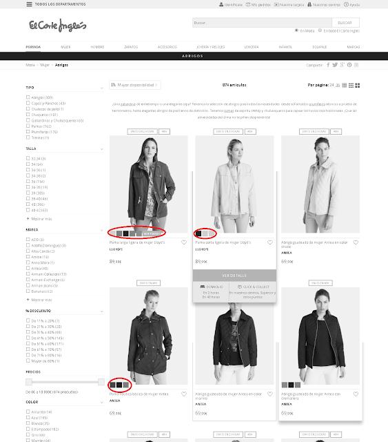En la tienda on-line del corte ingles cómo tengas un problema de colores no puedes comprar