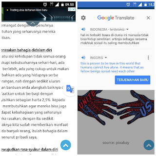 Menerjemahkan versi pop up di laman web