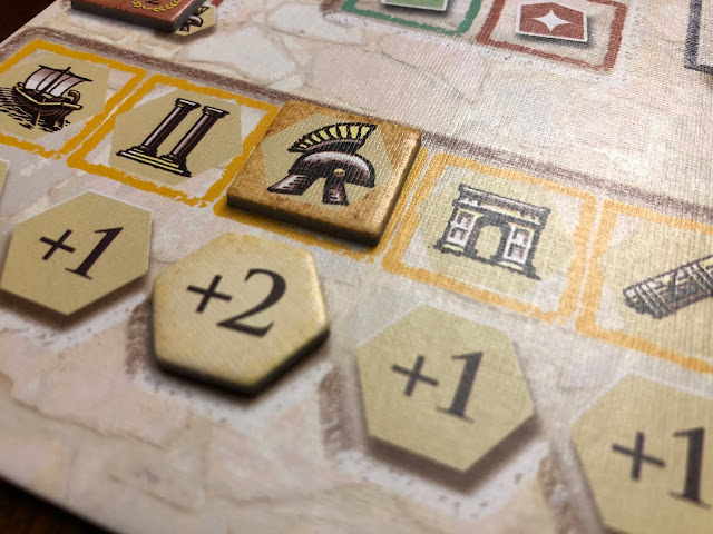 Trajan extra actions, board game review and image by Benjamin Kocher