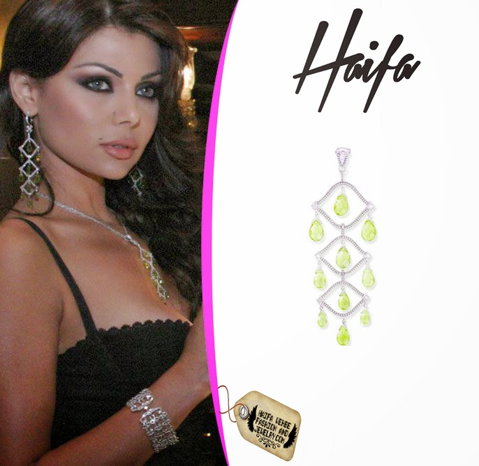 95c8201260 Haifa Wehbe wore this eye shaped diamond pendant featureing yellow  briolette stones for the launching of her own jewelry collection called