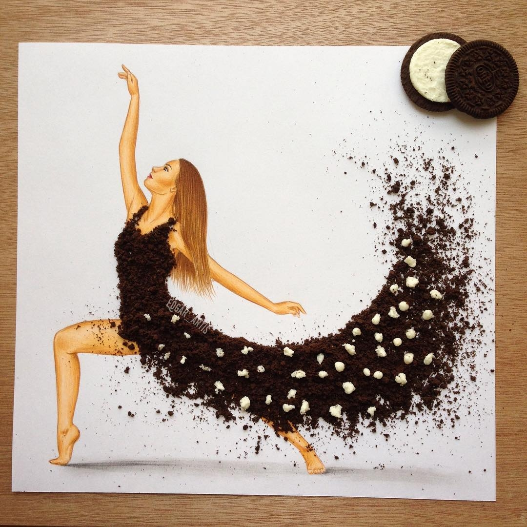 16-Oreo-Edgar-Artis-Drawings-that-use-Flowers-Food-and-Objects-www-designstack-co